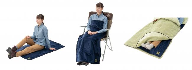 温かくなるブランケットマットです。キャンプでは寝袋の温めにも使えます。