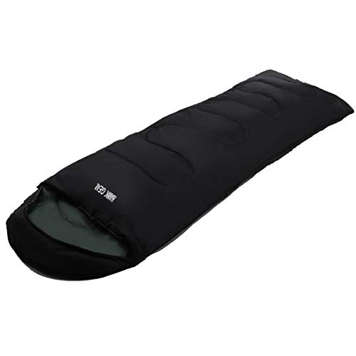 [HAWK GEAR(ホークギア)] 丸洗いできる寝袋 マミー型 シュラフ -15度耐寒 簡易防水 オールシーズン (ブラック(軽量タイプ))