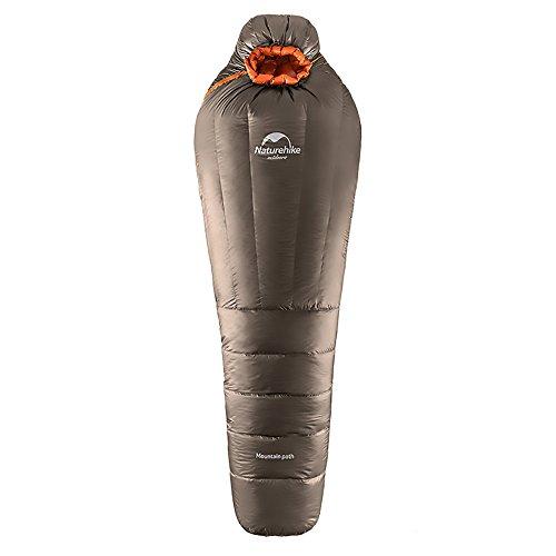 Naturehike公式ショップ 寝袋 ダックダウンシュラフ マミー型 高級冬用寝袋 トレッキング 登山 アウトドア 防災用 最低使用温度-10度/-20度 (シャンペン, UL1200)