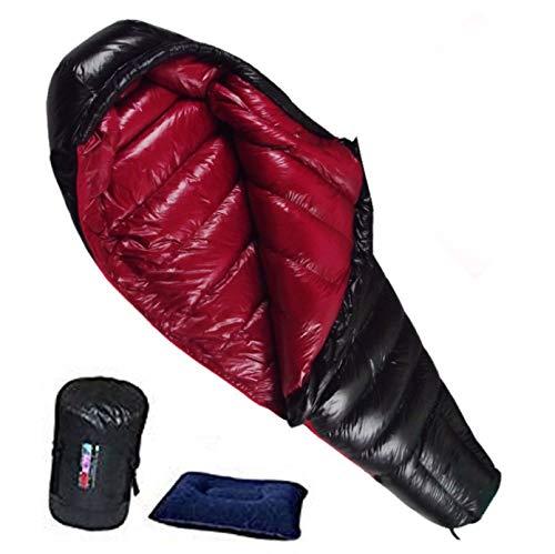 Fengzel Outdoor マミー型寝袋 600-2500g高級ダウン詰め 美しい光沢 キャンプ 自宅 車中泊 防災用 極限耐寒 軽量 コンパクト 羽毛シュラフ 寝袋 ブラック*ワイン,2500gダウン詰め(極限厳寒用)