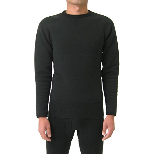 もちはだ もちジョイ 丸首長袖シャツ 超極厚地 男性用 LLサイズ ブラック