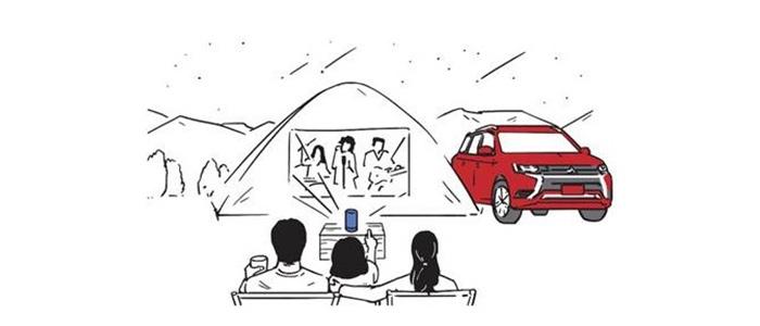 プロジェクター蔦屋電気×三菱自動車「電気キャンプ」を提案