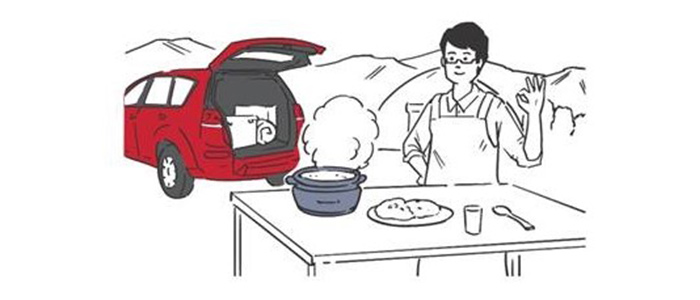 炊飯器蔦屋電気×三菱自動車「電気キャンプ」を提案